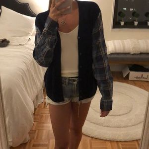 LF navy cardigan with blue plaid sleeve